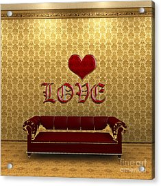 Love And Deep Red Sofa In A Gold Victorian Room Acrylic Print by Beverly Claire Kaiya