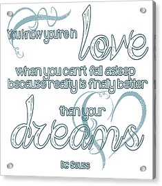 Love And Dreams Quote Acrylic Print