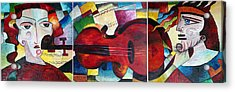 Acrylic Print featuring the painting Love And Music Triptych by Dorothy Maier