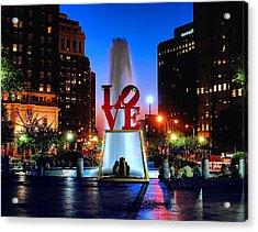 Love At Night Acrylic Print by Nick Zelinsky