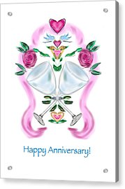 Acrylic Print featuring the digital art Love Birds Anniversary by Christine Fournier