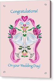 Acrylic Print featuring the digital art Love Birds Pink Wedding by Christine Fournier