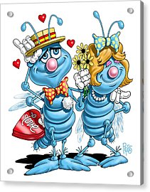 Acrylic Print featuring the digital art Love Bugs by Scott Ross