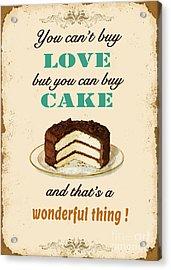 Love Cake Typography Acrylic Print