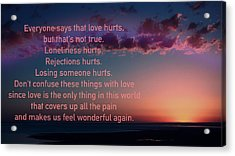 Love Doesn't Hurt Acrylic Print by Li   van Saathoff