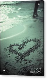 Love Heart Drawn On Beach Sand At Low Tide With Ocean Sea Acrylic Print by Edward Olive