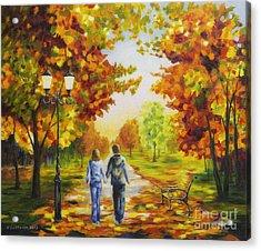 Love In Autumn Acrylic Print by Veikko Suikkanen