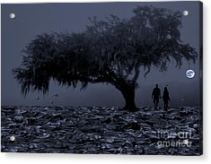 Love In Moon Light Acrylic Print by Manjot Singh Sachdeva