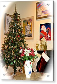 Love In Our Hearts And Santa In The Corner Acrylic Print