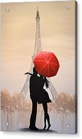Love In Paris Acrylic Print by Amy Giacomelli