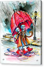 Acrylic Print featuring the painting Love In The Rain by Heather Calderon