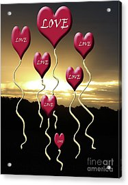 Love Is In The Air Golden Silhouette Acrylic Print by Cathy  Beharriell