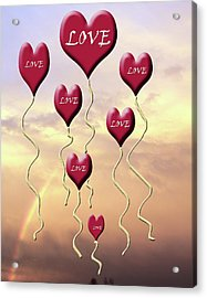 Love Is In The Air Sunshine Rainbow Acrylic Print by Cathy  Beharriell
