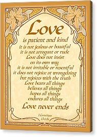 Love Is Patient - Gold Art Nouveau Style Acrylic Print