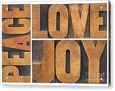 Love Joy And Peace Acrylic Print by Marek Uliasz