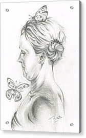 Acrylic Print featuring the drawing Loves- Her Butterflies by Teresa White