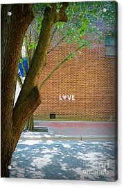 Love On The Wall Acrylic Print by Lorraine Heath