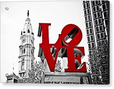 Love Park And City Hall Bw Acrylic Print