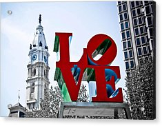Love Park And City Hall Acrylic Print