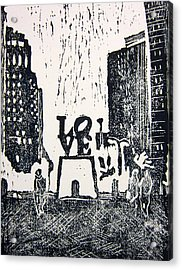 Love Park In Black And White Acrylic Print