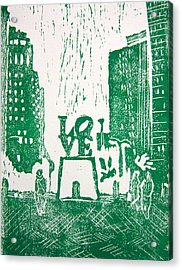 Love Park In Green Acrylic Print