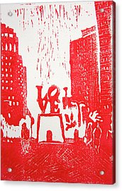 Love Park In Red Acrylic Print by Marita McVeigh