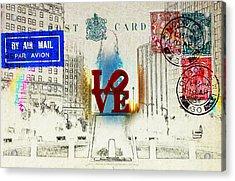 Love Park Post Card Acrylic Print by Bill Cannon
