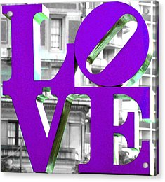 Love Philadelphia Purple Acrylic Print