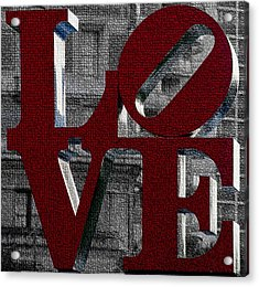 Love Philadelphia Red Mosaic Acrylic Print