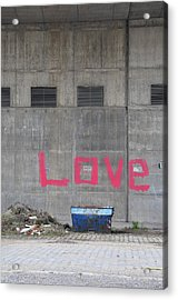 Love - Pink Painting On Grey Wall Acrylic Print by Matthias Hauser