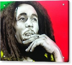 Bob Marley - ' Love The Life You Live - Live The Life You Love ' Acrylic Print by Christian Chapman Art