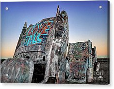 Love To All Cadillac Ranch Acrylic Print