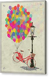 Love To Ride My Bike With Balloons Even If It's Not Practical. Acrylic Print by Andy Scullion