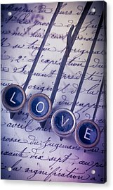Love Type On Old Letter Acrylic Print by Garry Gay