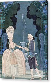 Love Under The Fountain Acrylic Print by Georges Barbier