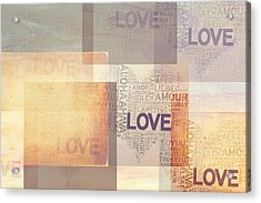Love. Vintage. Creamy Pastel Acrylic Print by Jenny Rainbow