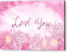 Love You Dark Pink Roses Watercolor Background Acrylic Print
