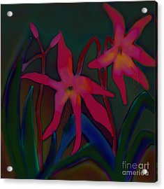 Acrylic Print featuring the digital art Lovely Lilies by Latha Gokuldas Panicker