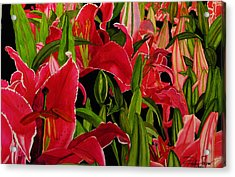 Acrylic Print featuring the painting Lovely Lillies by Debi Singer