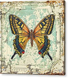 Lovely Yellow Butterfly On Tin Tile Acrylic Print by Jean Plout