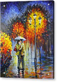 Lovers In The Rain Acrylic Print by Harry Speese