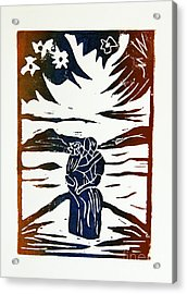 Lovers - Lino Cut A La Gauguin Acrylic Print by Christiane Schulze Art And Photography