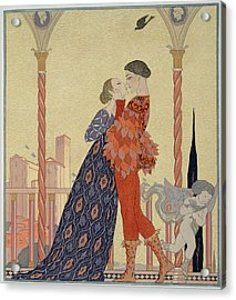 Lovers On A Balcony  Acrylic Print by Georges Barbier