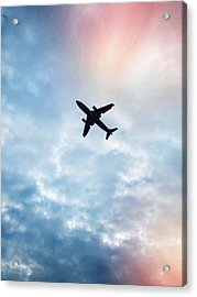 Low Angle View Of Airplane Flying In Acrylic Print by Maurice Rivera / Eyeem