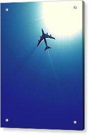 Low Angle View Of Airplane In Flight Acrylic Print by Karla Peña / Eyeem