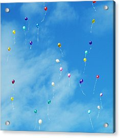 Low Angle View Of Balloons Flying Against Sky Acrylic Print by Alexey Ivanov / EyeEm