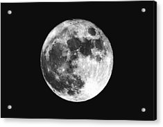 Low Angle View Of Moon Against Clear Sky At Night Acrylic Print by Mark Sutton / EyeEm