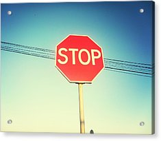 Low Angle View Of Stop Sign Acrylic Print by Pedro Venâncio / Eyeem