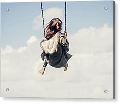 Low Angle View Of Woman On Swing Acrylic Print by Denise Kwong / Eyeem