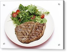 Low Carb Steak And Salad Acrylic Print